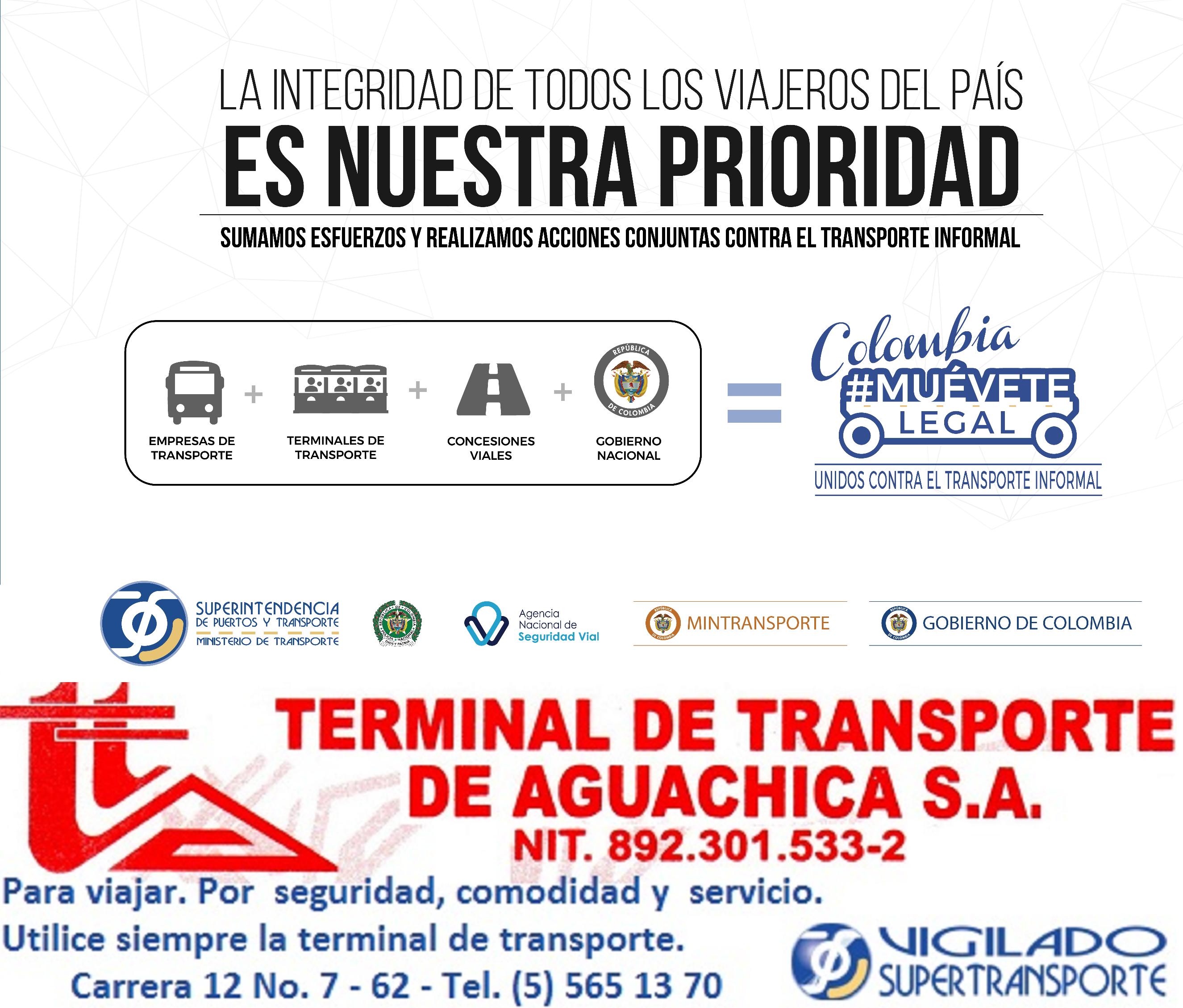 Combatir el transporte ilegal es responsabilidad de todos. Por eso #TerminalAguachica también se une a la campaña de la @Supertransporte: Colombia, #MuéveteLegal.